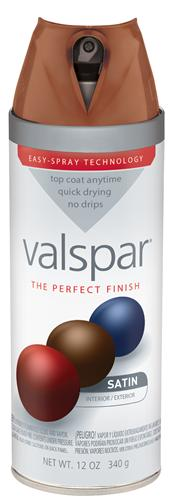 Valspar 410-85044 - Desc : 12 oz Premium Enamel Spray Paint, Brown Velvet Satin (6 Pack)
